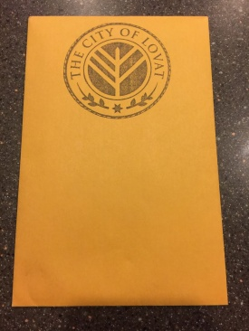 Envelope with the stamp of the City of Lovat.